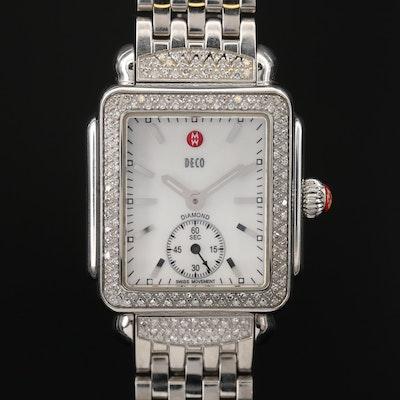 Michele Diamond Deco Stainless Steel Wristwatch