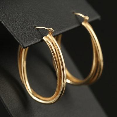 14K Crossover Hoop Earrings