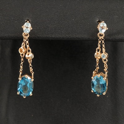 14K Topaz Dangle Earrings