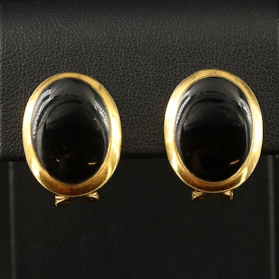 14K Black Onyx Oval Button Earrings