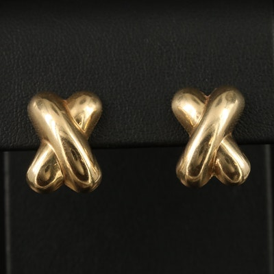 14K Crossover Earrings