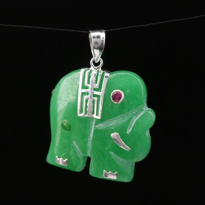 Sterling Silver Jadeite and Ruby Elephant Pendant