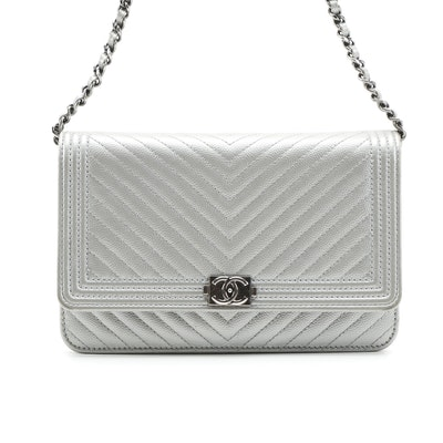 Chanel Boy Wallet Crossbody Bag in Metallic Chevron Caviar Leather