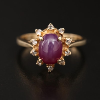 Vintage 14K Linde Star Sapphire Ring with Diamond Halo
