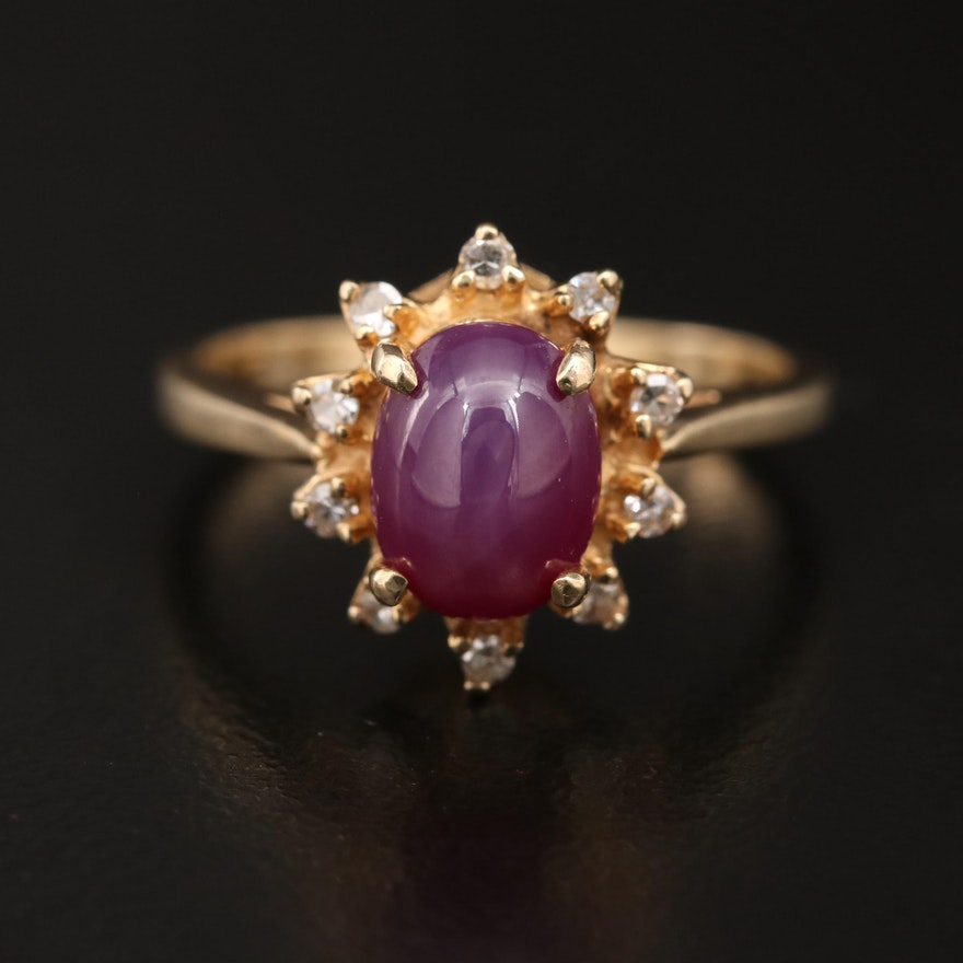 Vintage 14K Linde Star Sapphire Ring with Diamond Halo