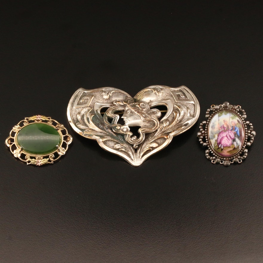 Art Nouveau and Vintage Brooches Featuring Nephrite and Porcelain