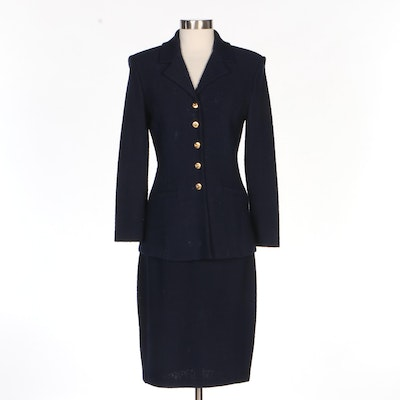 St. John Collection Navy Knit Skirt Suit