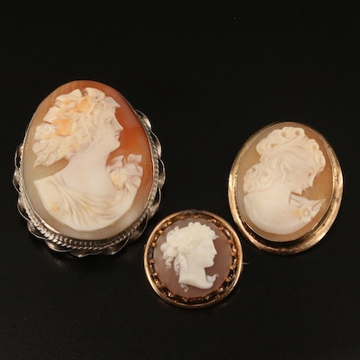 Antique Sterling Shell Cameo Brooch and Vintage Cameo Brooches