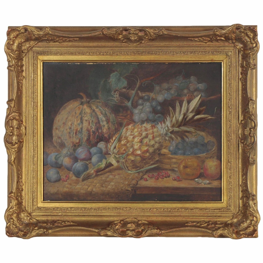 Still Life Oil Painting of Fruit, Late 19th Century