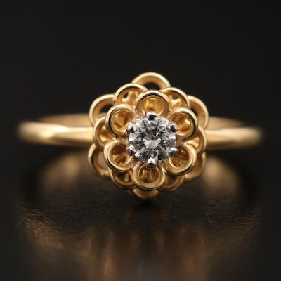 18K Diamond Flower Ring