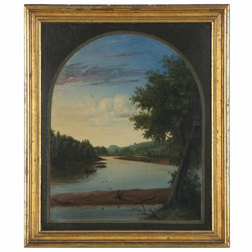 Landscape Oil Painting of River at Sunset, Mid-20th Century