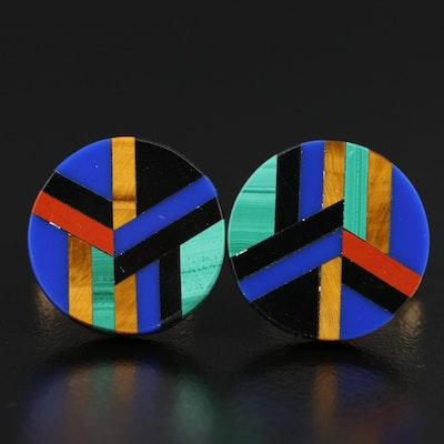 Hayward Black Onyx, Tiger's Eye Quartz and Malachite Inlay Cufflinks