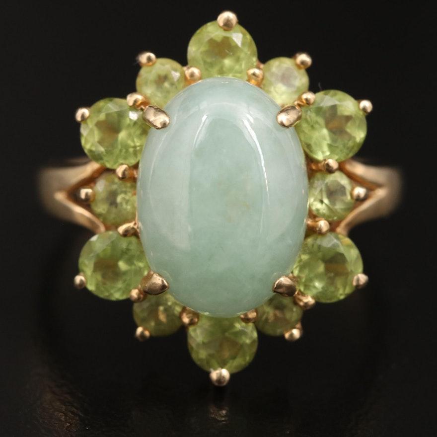 14K Jadeite Ring with Peridot Halo