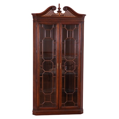 Chippendale Style Cherry Corner Curio Cabinet, Late 20th/Early 21st C.