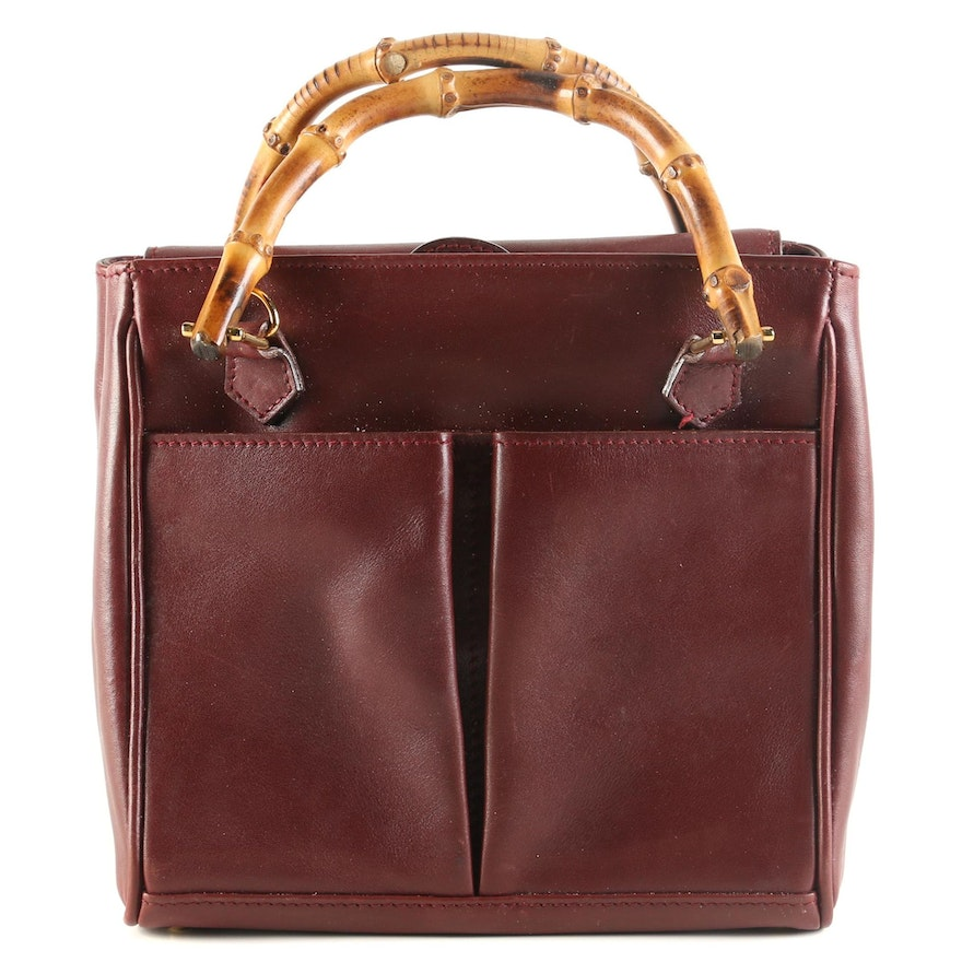 Gucci Bamboo Burgundy Leather Two-Way Top Handle Bag