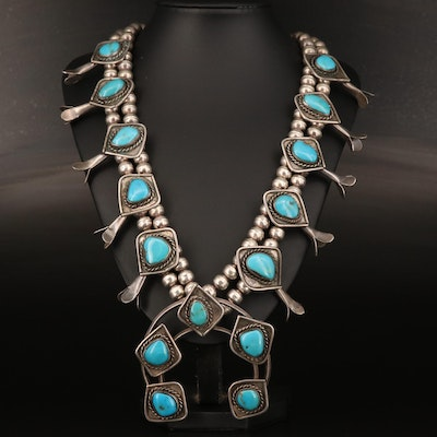 Western Style Sterling Silver Turquoise Squash Blossom Necklace