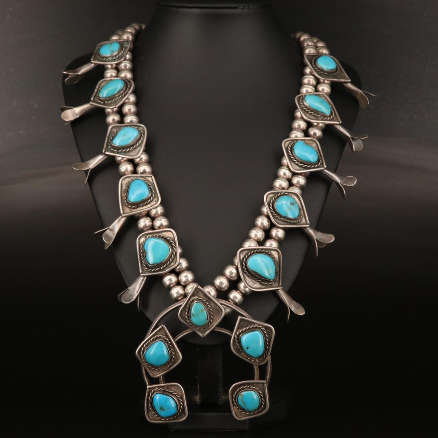 Western Sterling Silver Turquoise Squash Blossom Necklace
