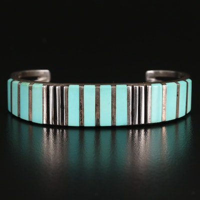 C. Siutza Sterling Silver Turquoise Bangle