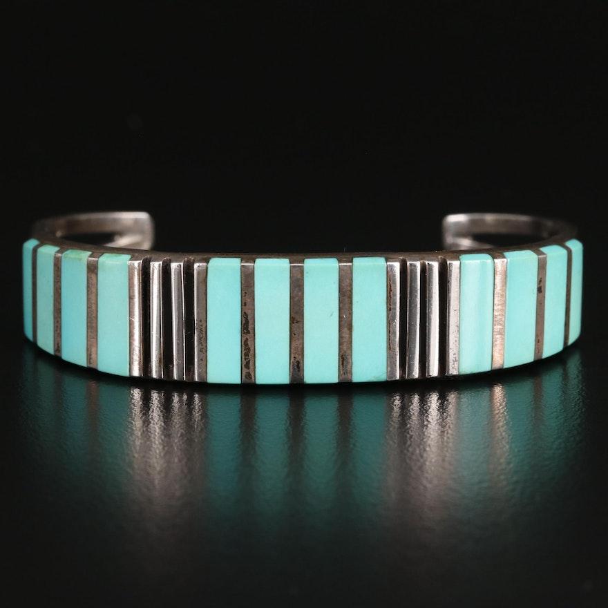 C. Siutza Sterling Silver Turquoise Bangle