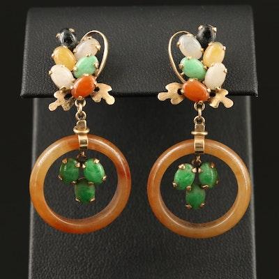 14K Jadeite Hololith Dangle Earrings
