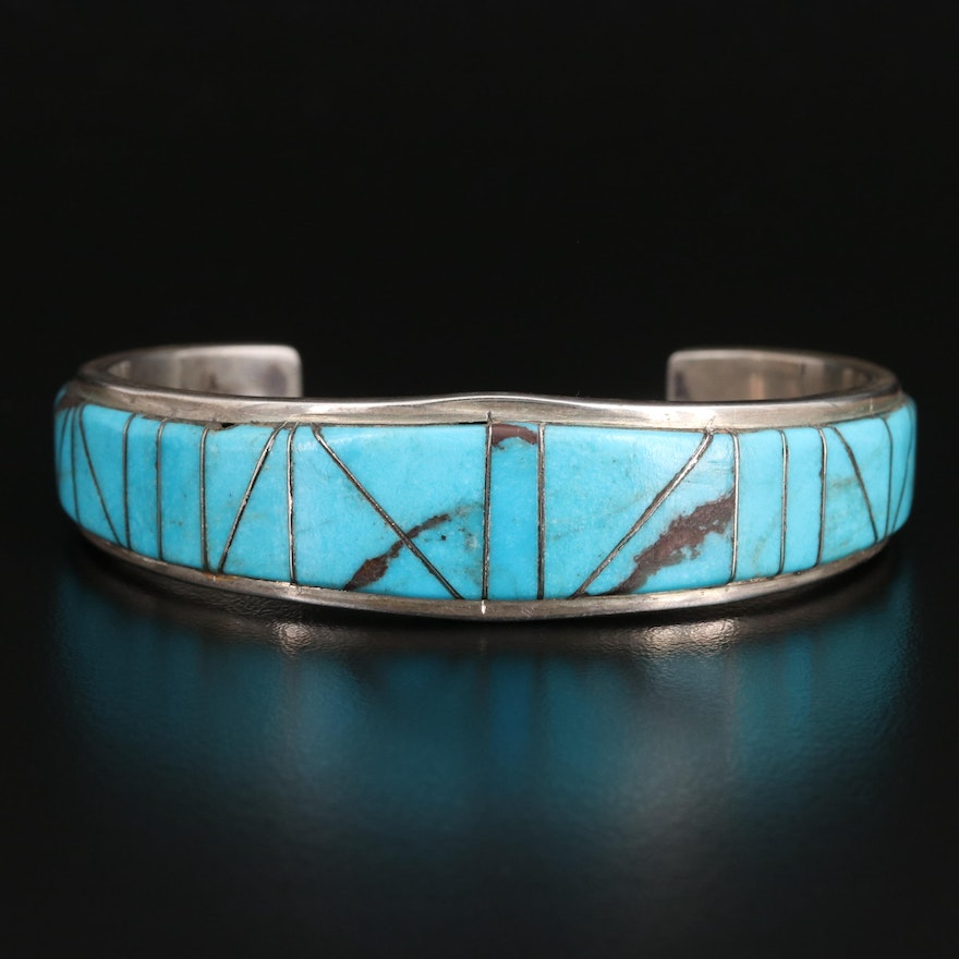 Artist Signed Western Style Sterling Silver Turquoise Inlay Cuff