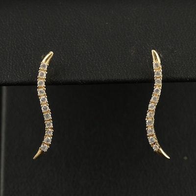 14K Cubic Zirconia Curved Drop Earrings