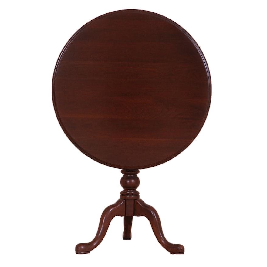 "Ethan Allen ""Georgian Court"" Queen Anne Style Cherry Tilt Top Tea Table"