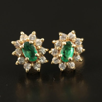 10K Emerald and Topaz Earrings