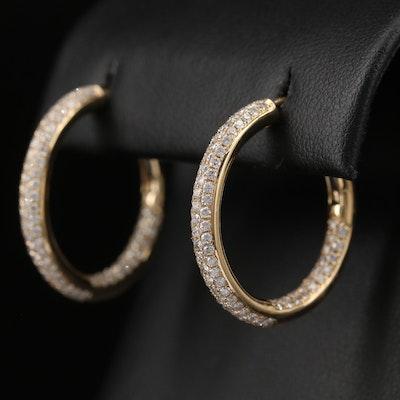 14K 2.00 CTW Pavé Diamond Inside-Out Hoop Earrings