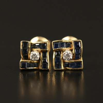 14K Diamond and Sapphire Earrings