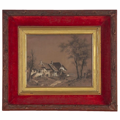 Embellished Lithograph of Country Cottage, Mid 20th Century