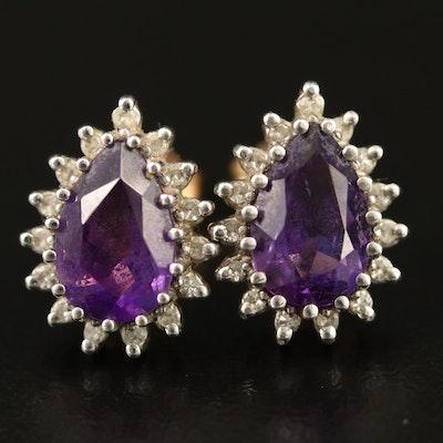 14K Amethyst Earrings with Diamond Halos