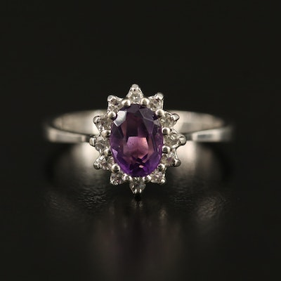 14K Amethsyt and Diamond Halo Ring