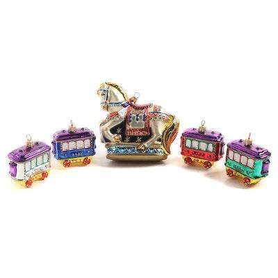 """Kurt S. Adler """"Carousel Horse"""" Polonaise Collection Christmas Ornaments"""