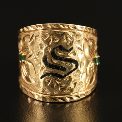 "Artistan Signed 14K Emerald and Enamel Monogram ""S"" Ring"