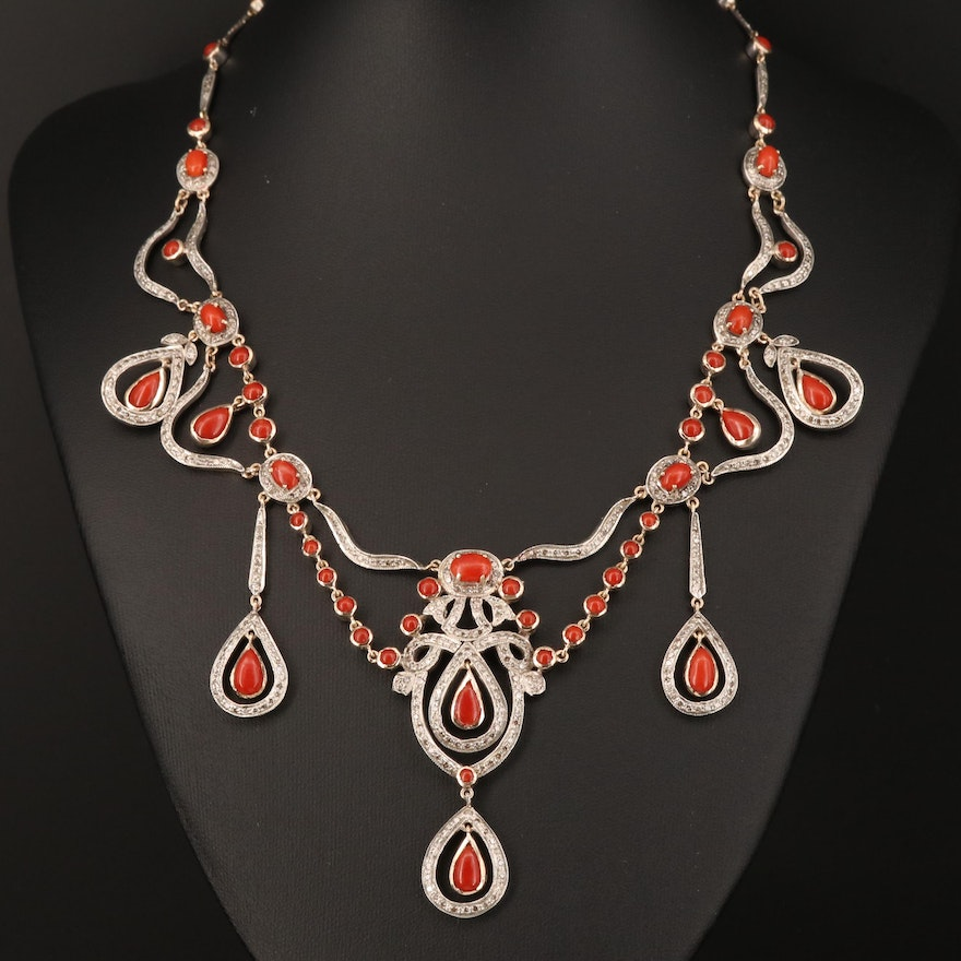 14K and Sterling Silver Coral and 4.51 CTW Diamond Festoon Necklace