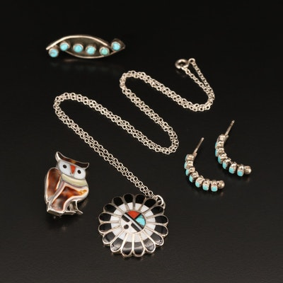 Southwestern Style Sterling Silver Tortoise Shell and Mother of Pearl Jewelry