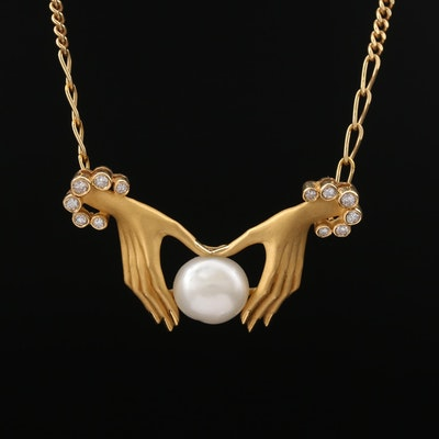 Carrera y Carrera 18K Pearl and Diamond Necklace