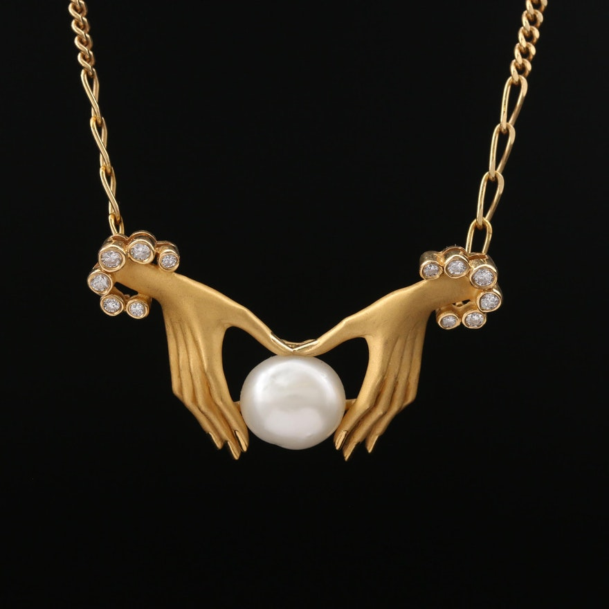 Carrera y Carrera 18K Pearl and Diamond Necklace