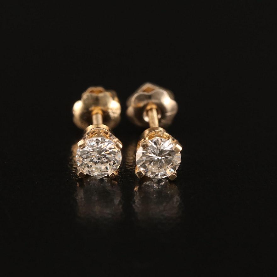 14K 0.60 CTW Diamond Solitaire Stud Earrings