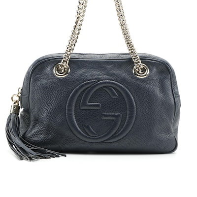 Gucci Small Soho Shoulder Bag in Navy Leather with Tassel and Chain Strap