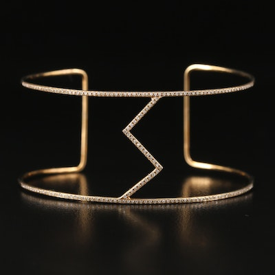14K Diamond Cuff with Geometric Design