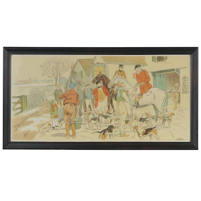 Fox Hunting Chromolithograph after Charles Frederick Peters, 1923