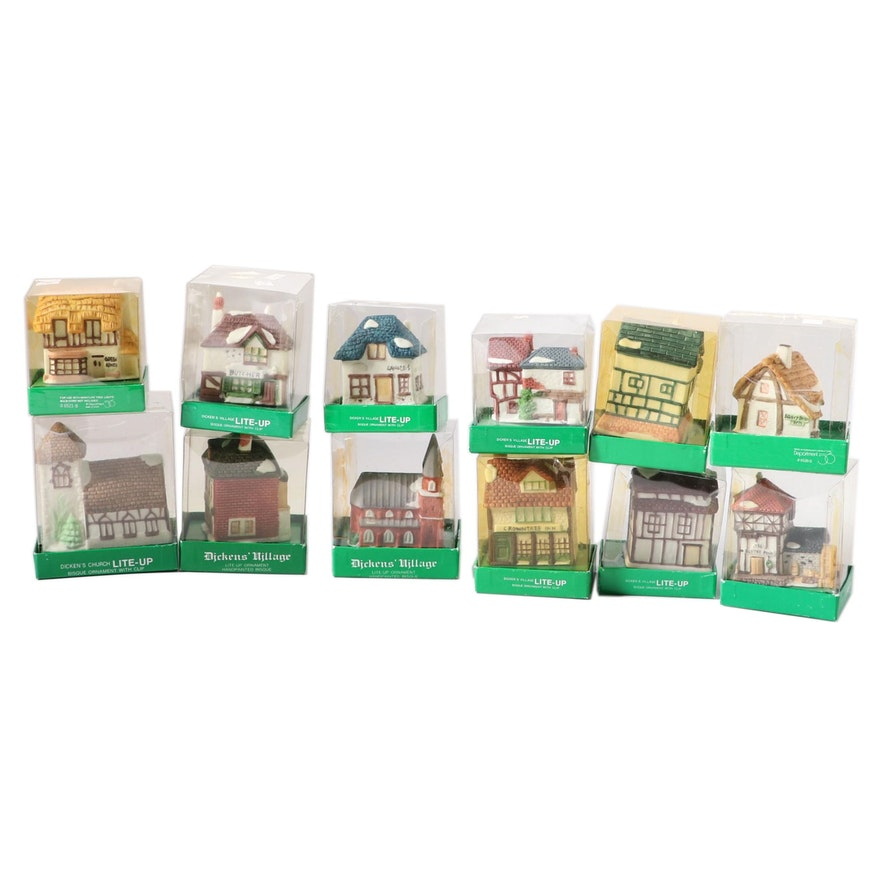 """Department 56 """"Green Grocer"""" and Other Dicken's Village Christmas Ornaments"""