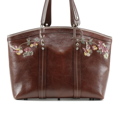 Christian Dior Leather Tote Bag with Embroidered Butterflies and Florals