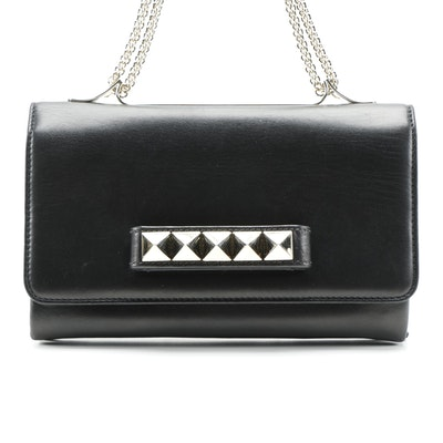 Valentino Va Va Voom Rockstud Clutch in Black Leather