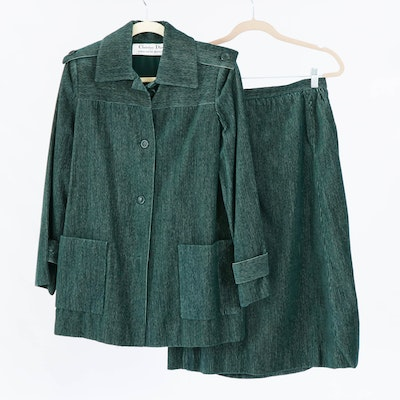 Christian Dior for Saks Fifth Avenue Hunter Green Corduroy Suit