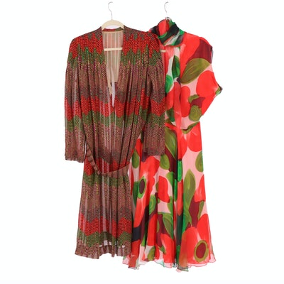 Silk and Chiffon Dresses in Multicolor Prints