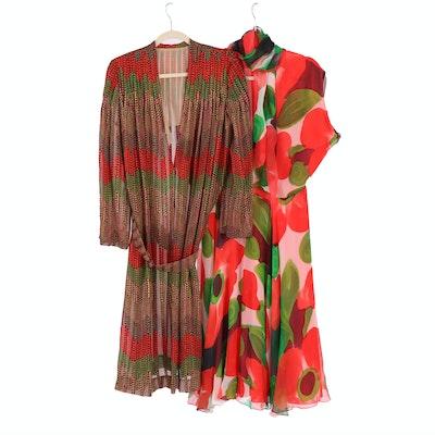 Silk and Chiffon Dresses in Multicolor Prints