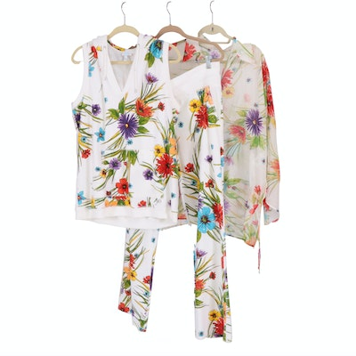 Escada Sport Two-Piece Terry Suit and Swim Cover in Multicolor Floral Print